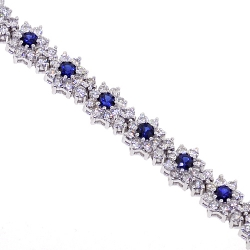 18K White Gold 6.54 ct Diamond Blue Sapphire Womens Bracelet