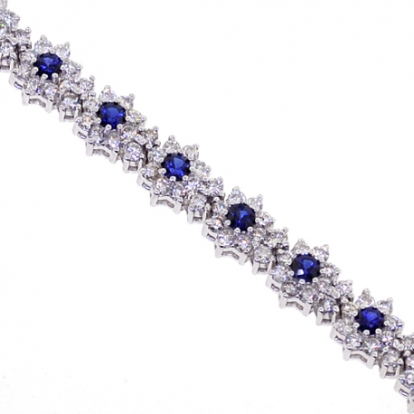 Womens Diamond Blue Sapphire Flower Bracelet 18k White Gold 7 Quot