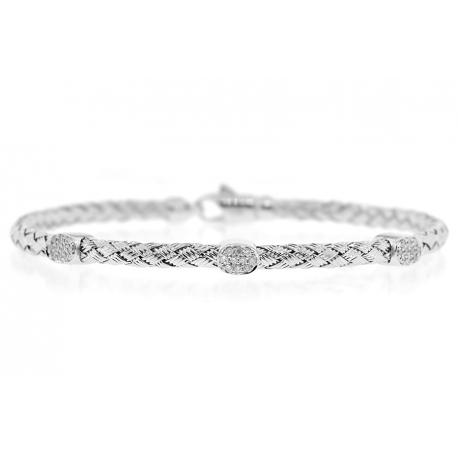 """Womens Diamond Station Woven Bracelet 18K White Gold 0.20 ct 7"""""""