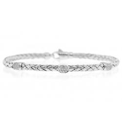 18K White Gold 0.20 ct Diamond Station Womens Woven Bracelet