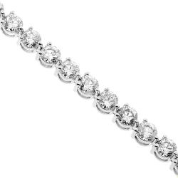 18K White Gold 2.10 ct 3-Prong Diamond Womens Tennis Bracelet