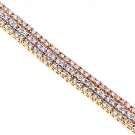 "Womens 3 Rows Diamond Tennis Bracelet 18K Multi Tone Gold 7.25"""