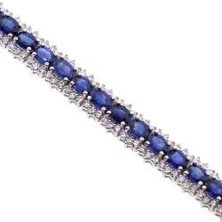 18K White Gold 13.10 ct Sapphire Diamond Womens Tennis Bracelet