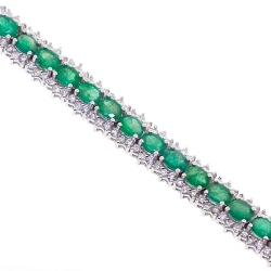 Womens Emerald Diamond Tennis Bracelet 18K White Gold 10.53 ct