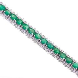 18K White Gold 10.53 ct Emerald Diamond Womens Tennis Bracelet