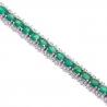 Womens Emerald Diamond Tennis Bracelet 18K White Gold 10.53 ct