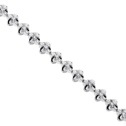 18K White Gold 0.95 ct Diamond Womens Floral Bracelet 7 Inches