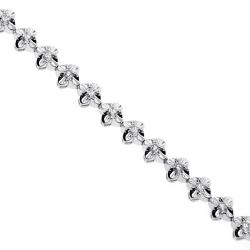 Womens Diamond Flower Halo Tennis Bracelet 18K White Gold 0.95 ct