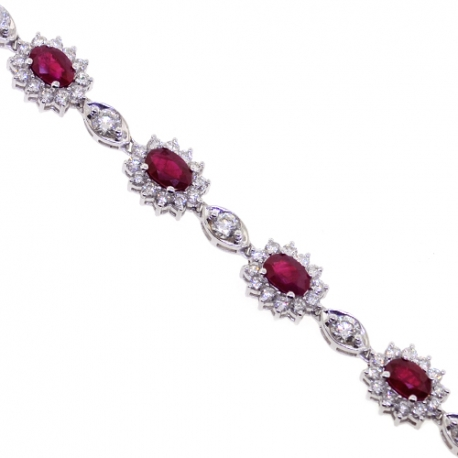 "Womens Ruby Diamond Halo Bracelet 18K White Gold 9.78 ct 7.25"""