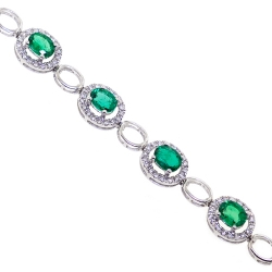 Womens Emerald Diamond Halo Bracelet 18K White Gold 4.93 ct 7.25""