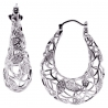 Womens Diamond Openwork Oval Hoop Earrings 18K White Gold