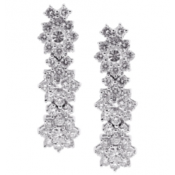 18K White Gold 2.27 ct Diamond Cluster Womens Drop Earrings