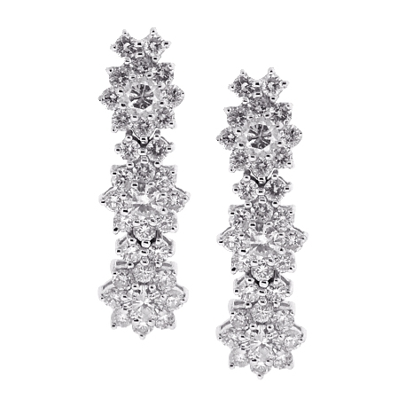 Womens Diamond Cluster Drop Earrings 18K White Gold 2.27 ct