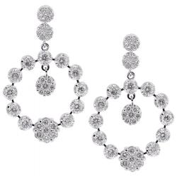 18K White Gold 3.18 ct Diamond Cluster Open Dangle Earrings