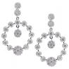 Womens Diamond Cluster Dangle Earrings18K White Gold 3.18 ct
