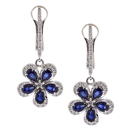 Womens Diamond Blue Sapphire Flower Drop Earrings 14K White Gold
