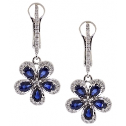 14K White Gold 2.41 ct Diamond Sapphire Womens Flower Earrings