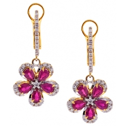 14K Yellow Gold 2.21 ct Diamond Ruby Womens Flower Earrings
