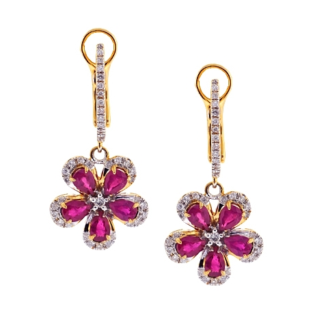 Womens Diamond Ruby Flower Drop Earrings 14K Yellow Gold 2.21 ct