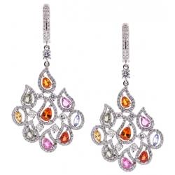 18K White Gold 6.43 ct Sapphire Diamond Womens Flame Earrings