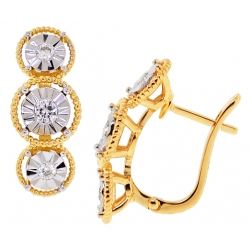 18K Yellow Gold 0.34 ct Diamond Womens Illusion Earrings