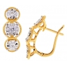 Womens Diamond Illusion Huggie Earrings 18K Yellow Gold 0.34 ct