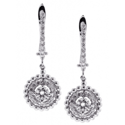 18K White Gold 1.21 ct Diamond Womens Drop Earrings