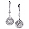 Womens Diamond Round Drop Earrings 18K White Gold 1.21 Carat