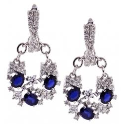 Womens Diamond Blue Sapphire Drop Earrings 18K White Gold 4.46 ct