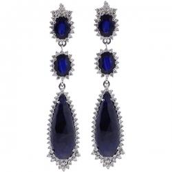Womens Blue Sapphire Diamond Drop Earrings 18K White Gold 5.31 ct