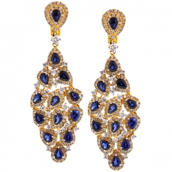 18K Yellow Gold 8.03 ct Blue Sapphire Diamond Chandelier Earrings