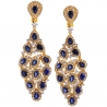 Womens Sapphire Diamond Chandelier Earrings 18K Yellow Gold 8.03