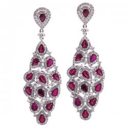 Womens Ruby Diamond Chandelier Earrings 18K White Gold 7.24 ct
