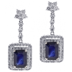 Womens Blue Sapphire Diamond Drop Earrings 18K White Gold 3.17 ct