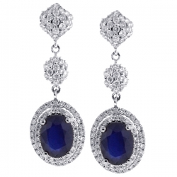 Womens Sapphire Diamond Double Halo Drop Earrings 18K White Gold