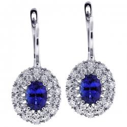 Womens Tanzanite Diamond Drop Earrings 18K White Gold 2.94 ct