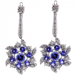 Womens Tanzanite Diamond Flower Earrings 18K White Gold 4.97 ct