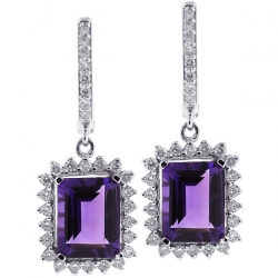 Womens Amethyst Diamond Drop Earrings 18K White Gold 4.88 ct