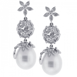 Womens Diamond 11 mm Pearl Drop Earrings 18K White Gold 0.52 ct