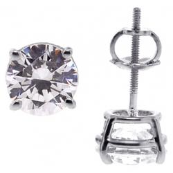 14K White Gold 2.00 ct Swarovski Crystal Womens Stud Earrings