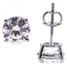 Womens Swarovski Crystal Stud Earrings 14K White Gold 2.00 ct