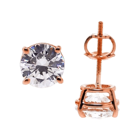 Womens Swarovski Crystal Stud Earrings 14K Rose Gold 2.00 ct