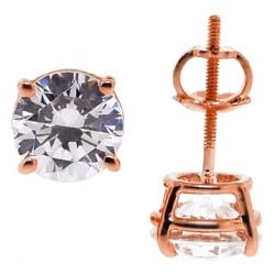 14K Rose Gold 2.00 ct Swarovski Crystal Womens Stud Earrings