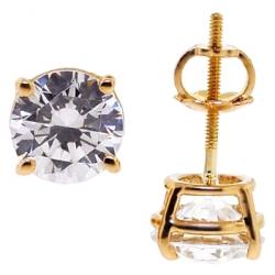 14K Yellow Gold 2.00 ct Swarovski Crystal Womens Stud Earrings