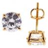 Womens Swarovski Crystal Stud Earrings 14K Yellow Gold 2.00 ct