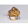 18K Yellow Gold 6.60 ct Diamond Blue Sapphire Womens Flower Ring