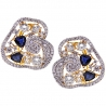 Womens Diamond Sapphire Huggie Earrings 18K Yellow Gold 5.75 ct