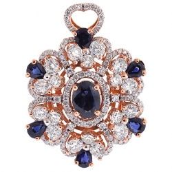 18K Rose Gold 5.24 ct Diamond Sapphire Womens Flower Pendant