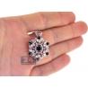 Womens Diamond Blue Sapphire Flower Pendant 18K Rose Gold 5.24ct