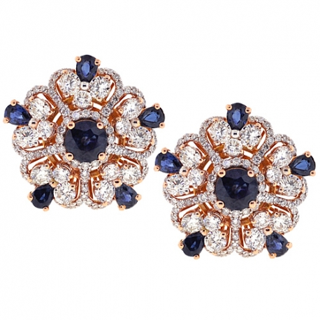 Womens Diamond Sapphire Flower Earrings 18K Rose Gold 8.56 ct